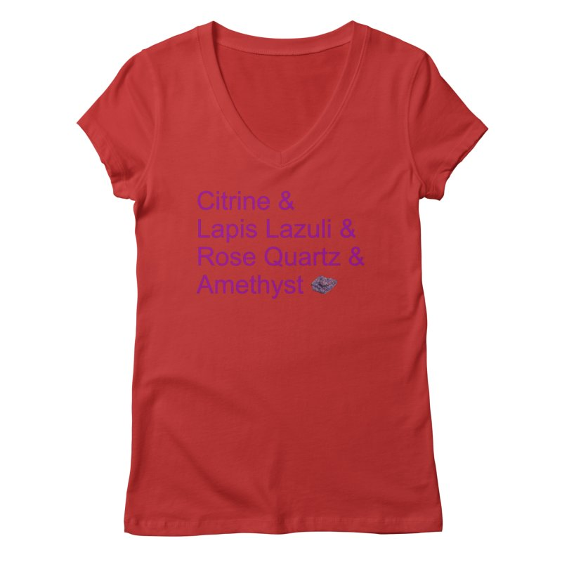 Citrine & Lapis Lazuli & Rose Quartz & Amethyst Women's Regular V-Neck by Crystalline Light