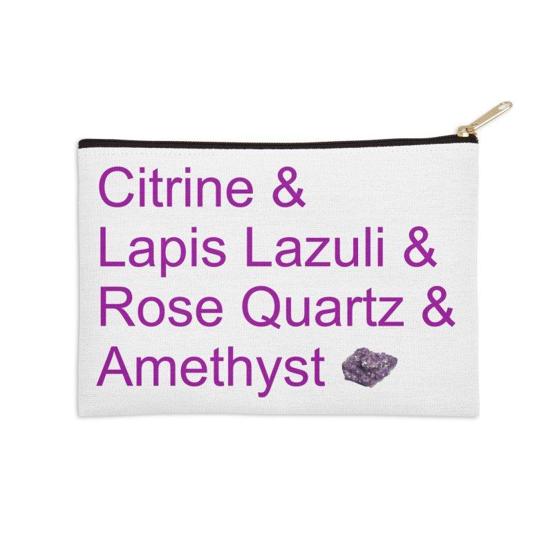Citrine & Lapis Lazuli & Rose Quartz & Amethyst Accessories Zip Pouch by Crystalline Light