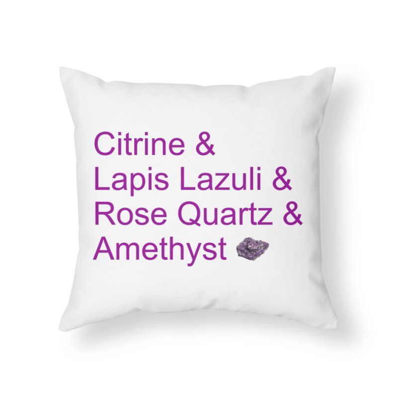 Citrine & Lapis Lazuli & Rose Quartz & Amethyst Home Throw Pillow by Crystalline Light