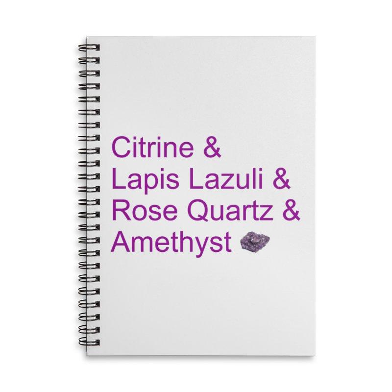 Citrine & Lapis Lazuli & Rose Quartz & Amethyst Accessories Lined Spiral Notebook by Crystalline Light