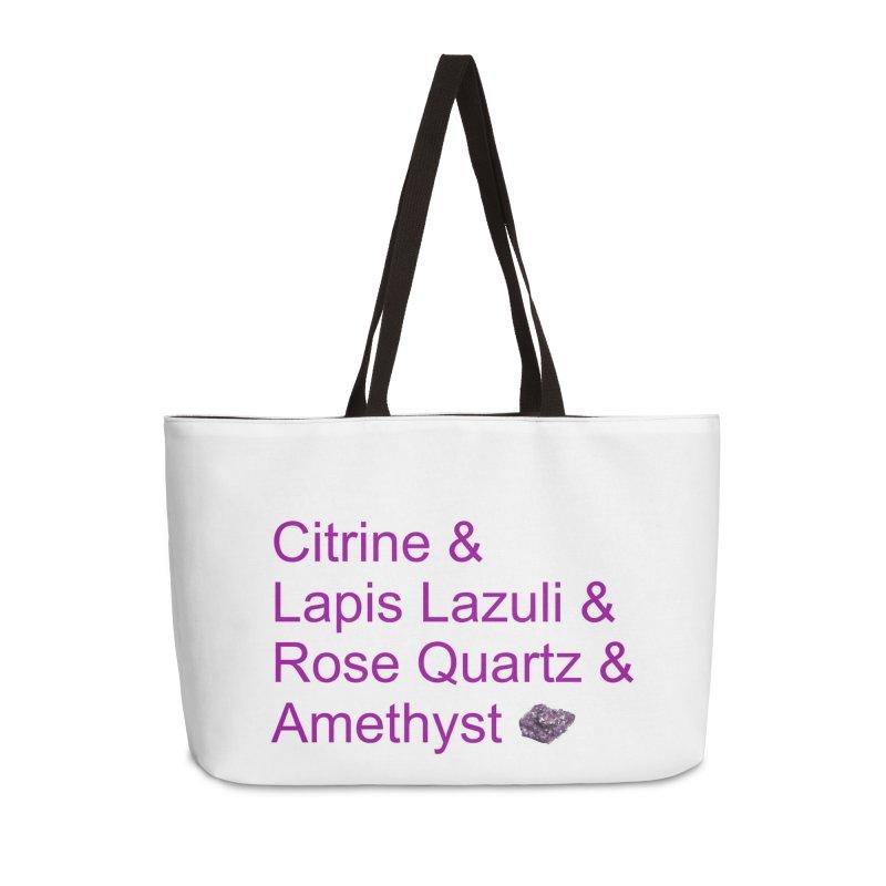 Citrine & Lapis Lazuli & Rose Quartz & Amethyst Accessories Weekender Bag Bag by Crystalline Light