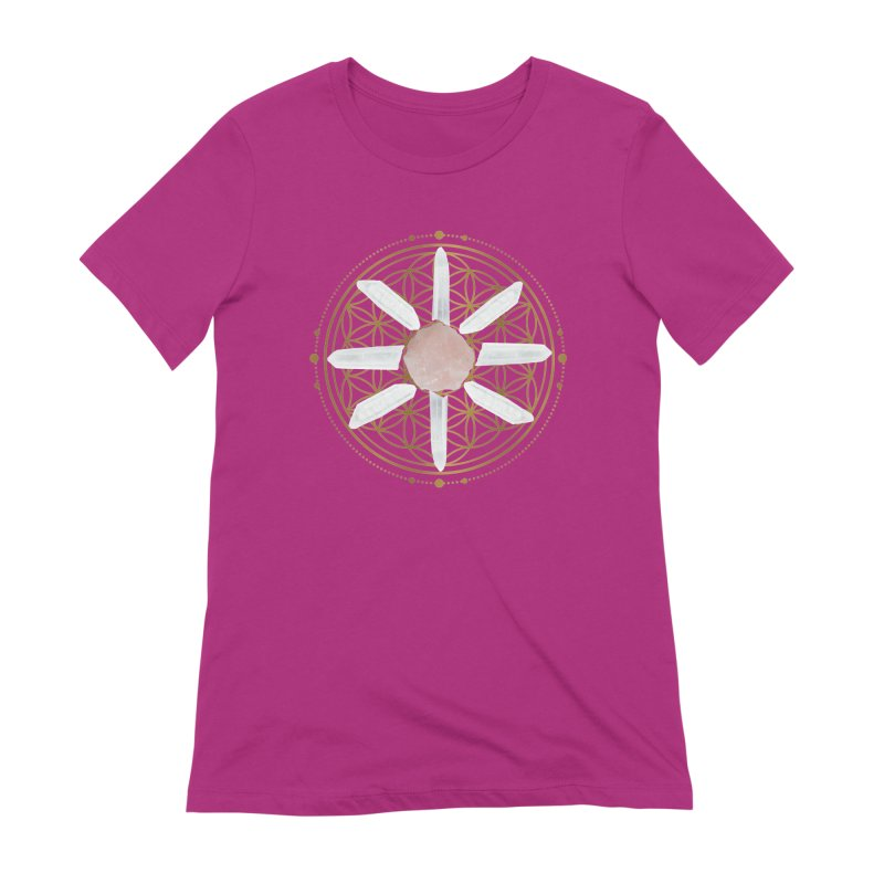 Flower of Life Love Crystal Grid in Women's Extra Soft T-Shirt Berry by Crystalline Light