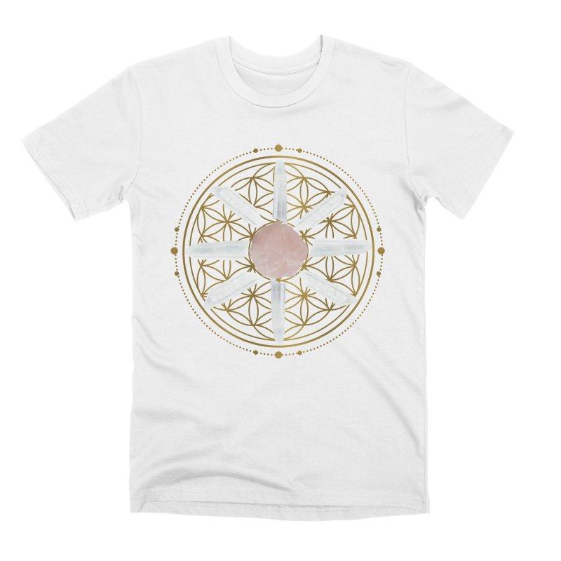 Flower of Life Love Crystal Grid in Men's Premium T-Shirt White by Crystalline Light