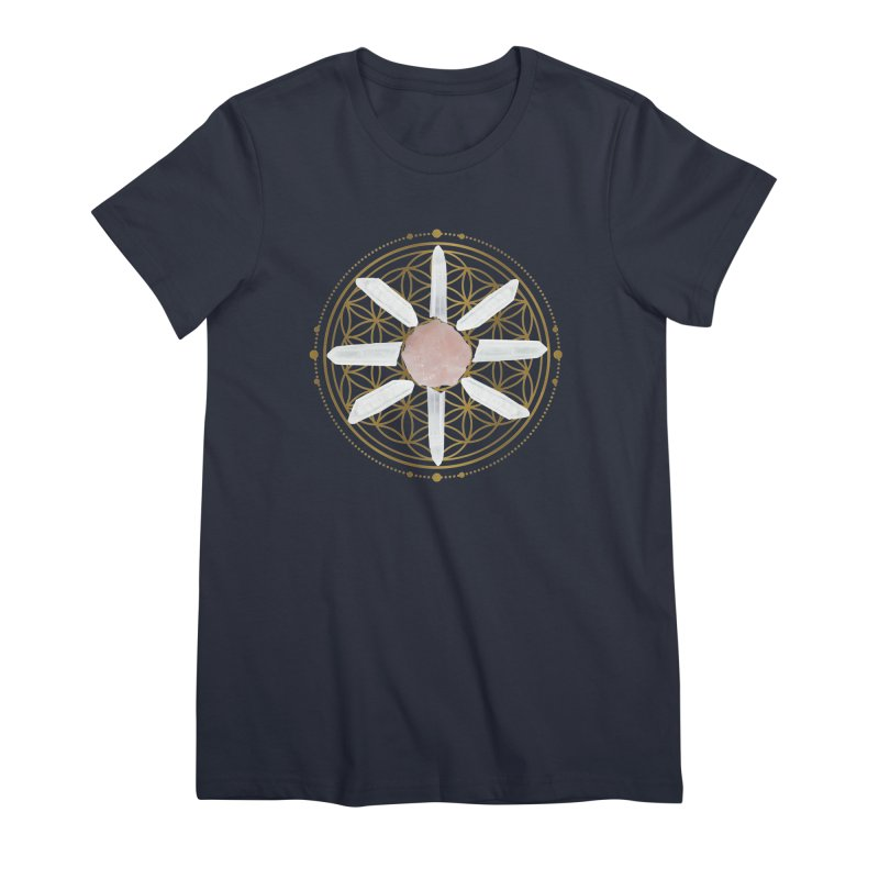 Flower of Life Love Crystal Grid Women's Premium T-Shirt by Crystalline Light