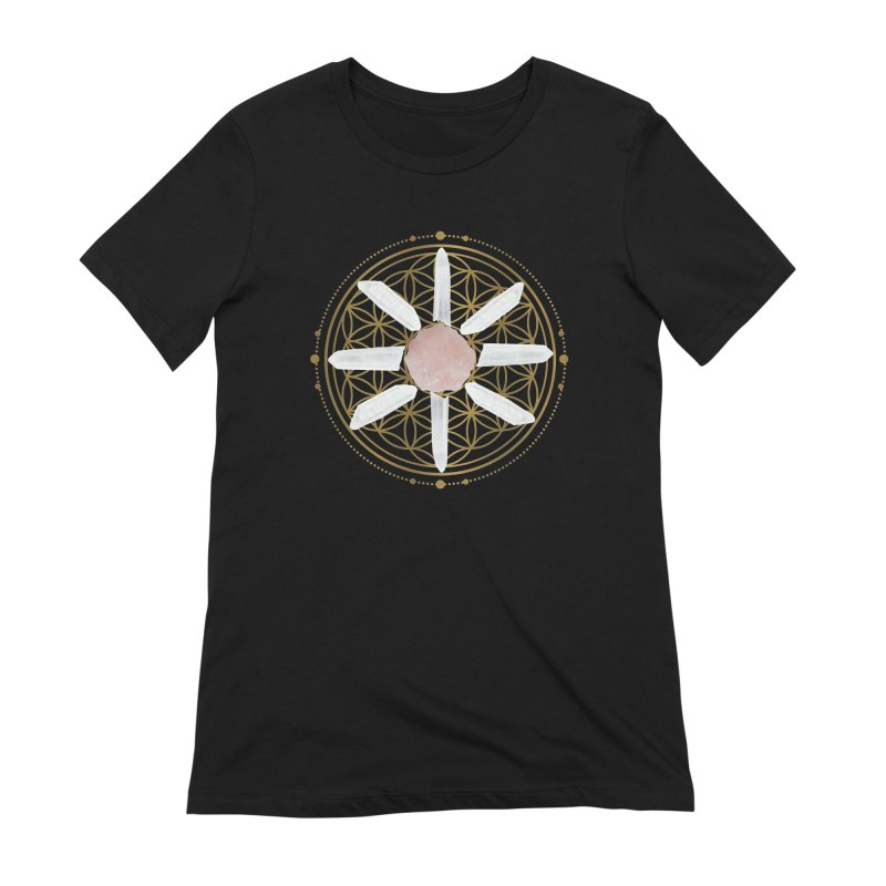 Flower of Life Love Crystal Grid Women's Extra Soft T-Shirt by Crystalline Light