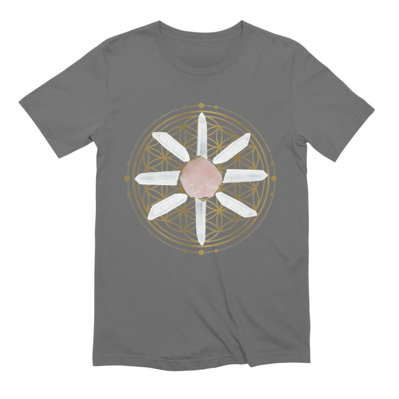 Flower of Life Love Crystal Grid Men's T-Shirt by Crystalline Light