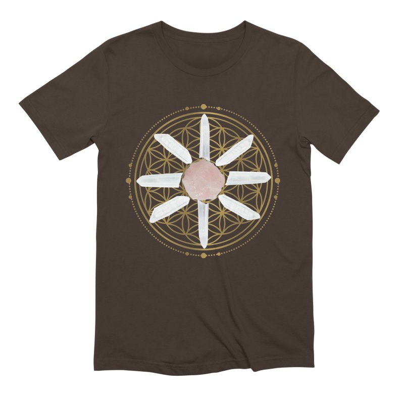 Flower of Life Love Crystal Grid Men's Extra Soft T-Shirt by Crystalline Light