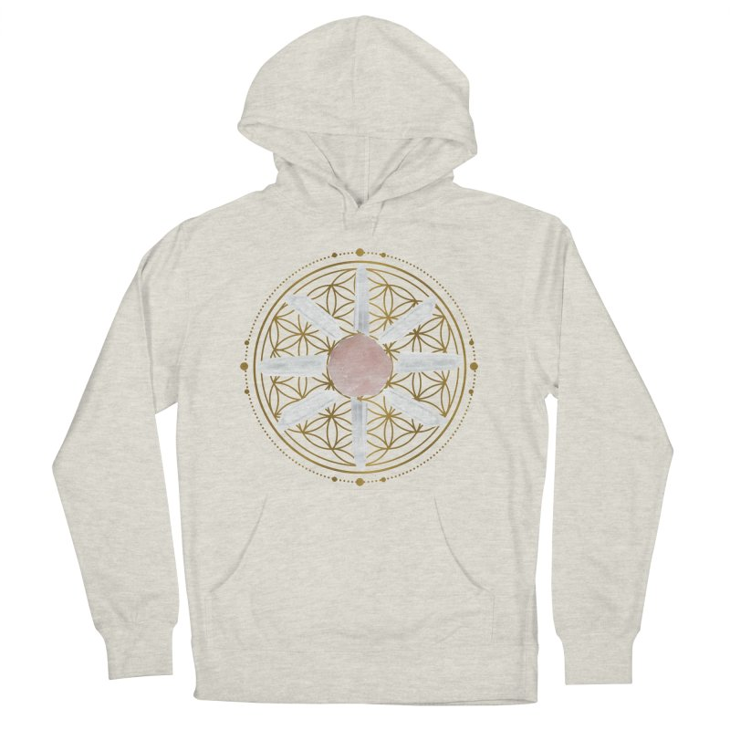 Flower of Life Love Crystal Grid Men's French Terry Pullover Hoody by Crystalline Light