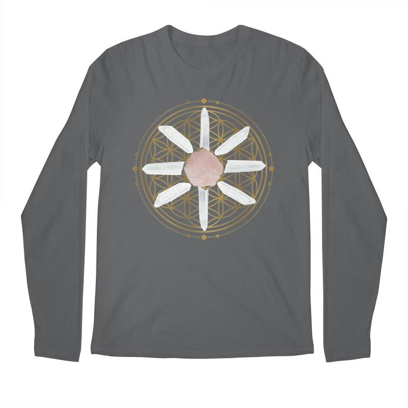 Flower of Life Love Crystal Grid Men's Longsleeve T-Shirt by Crystalline Light