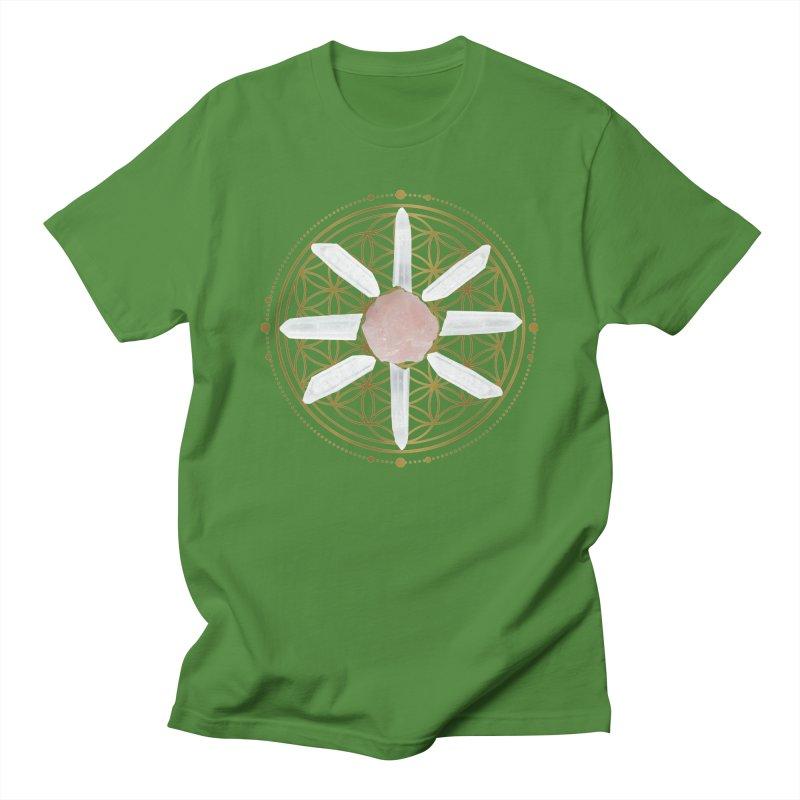 Flower of Life Love Crystal Grid Men's T-Shirt by Crystalline Light
