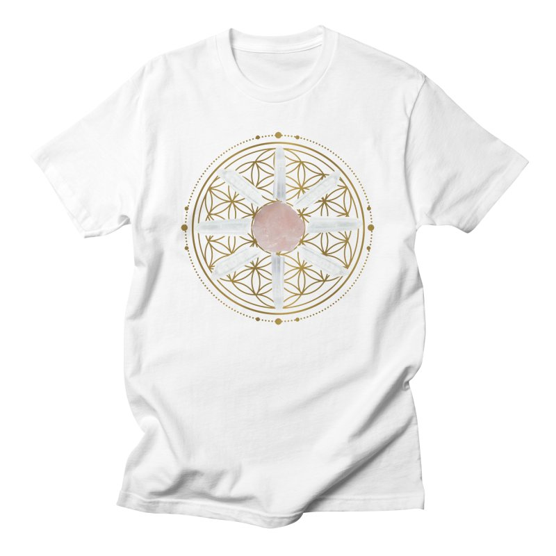 Flower of Life Love Crystal Grid Men's Regular T-Shirt by Crystalline Light