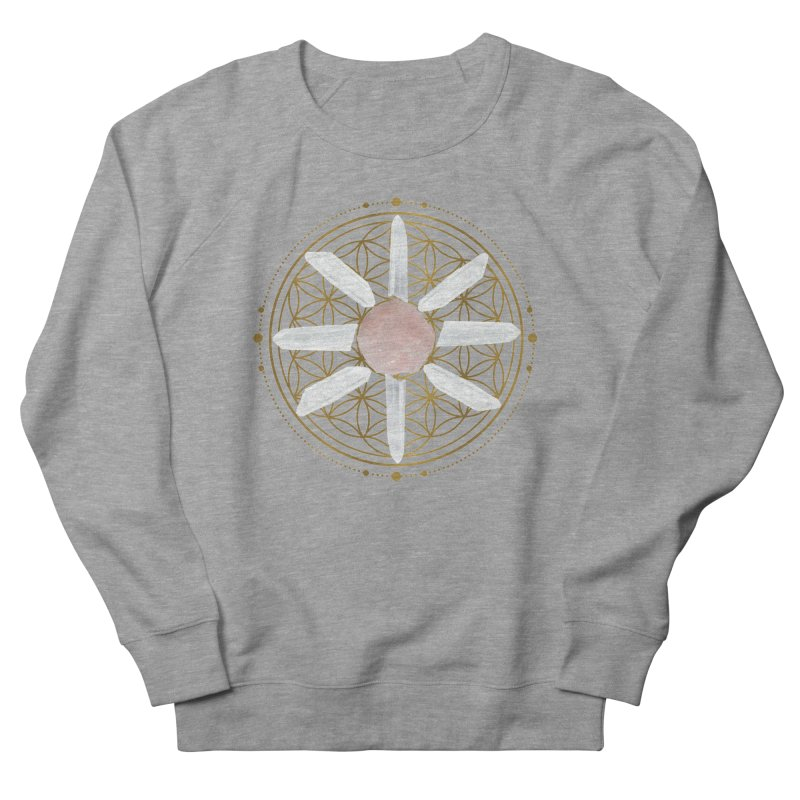 Flower of Life Love Crystal Grid Men's French Terry Sweatshirt by Crystalline Light