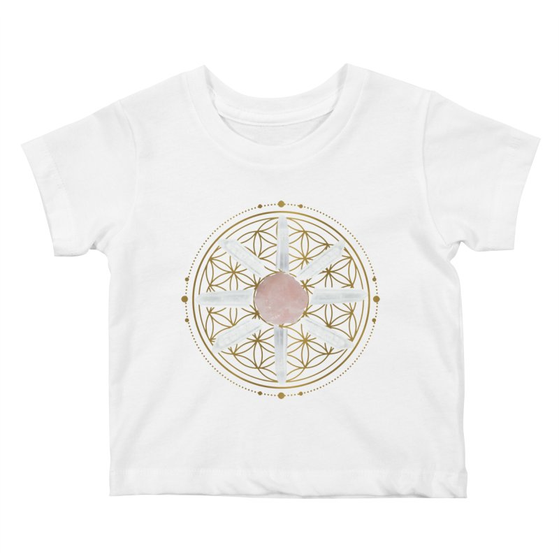 Flower of Life Love Crystal Grid Kids Baby T-Shirt by Crystalline Light