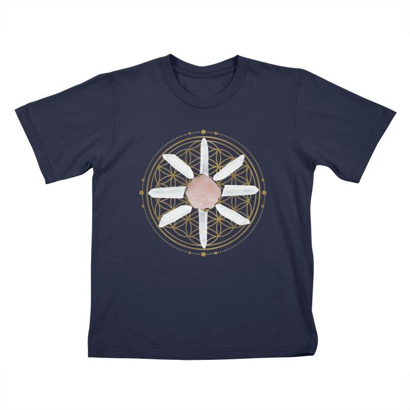 Flower of Life Love Crystal Grid Kids T-Shirt by Crystalline Light