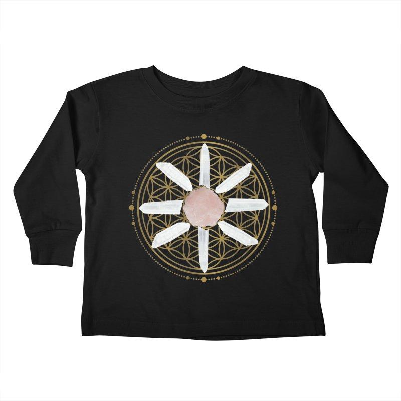 Flower of Life Love Crystal Grid Kids Toddler Longsleeve T-Shirt by Crystalline Light
