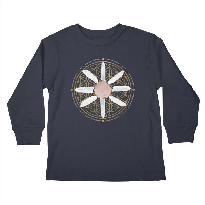Flower of Life Love Crystal Grid Kids Longsleeve T-Shirt by Crystalline Light