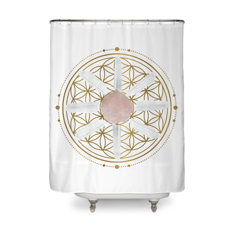 Flower of Life Love Crystal Grid Home Shower Curtain by Crystalline Light