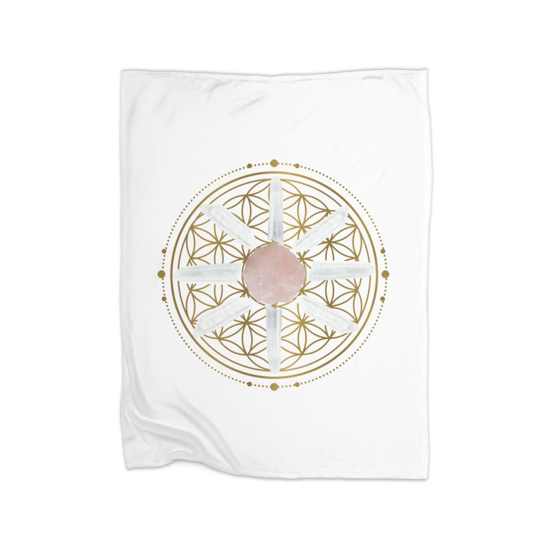 Flower of Life Love Crystal Grid Home Fleece Blanket Blanket by Crystalline Light