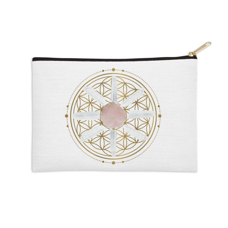 Flower of Life Love Crystal Grid Accessories Zip Pouch by Crystalline Light