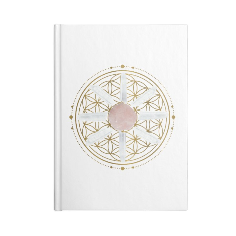 Flower of Life Love Crystal Grid Accessories Blank Journal Notebook by Crystalline Light