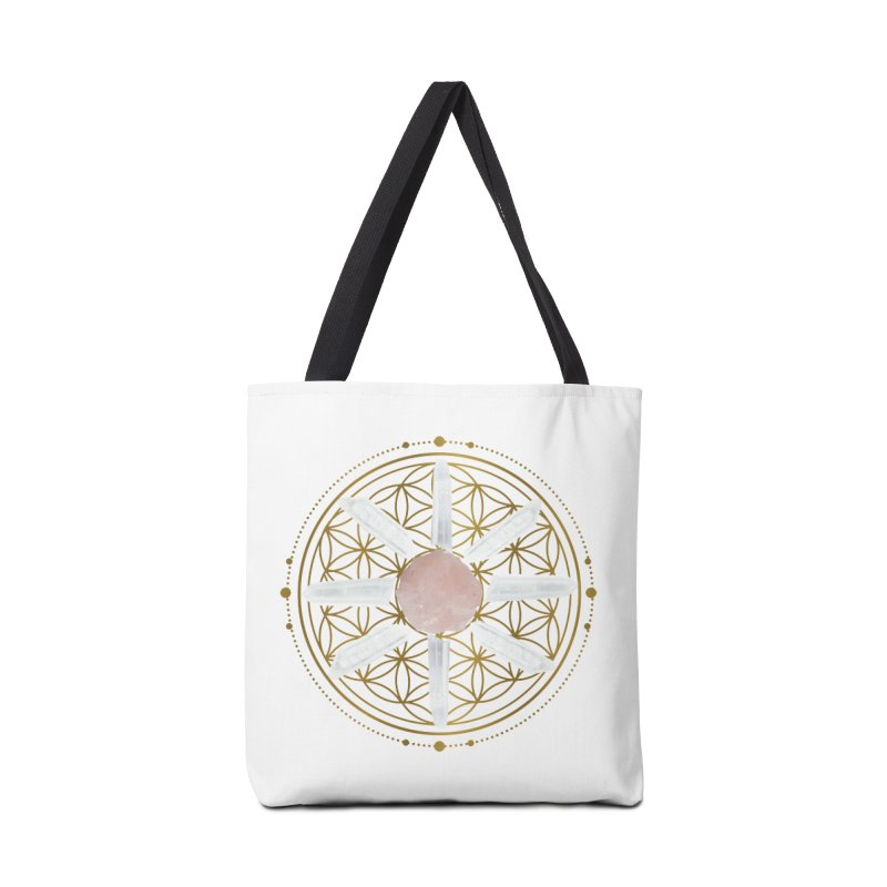 Flower of Life Love Crystal Grid Accessories Tote Bag Bag by Crystalline Light