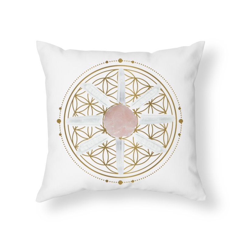 Flower of Life Love Crystal Grid Home Throw Pillow by Crystalline Light