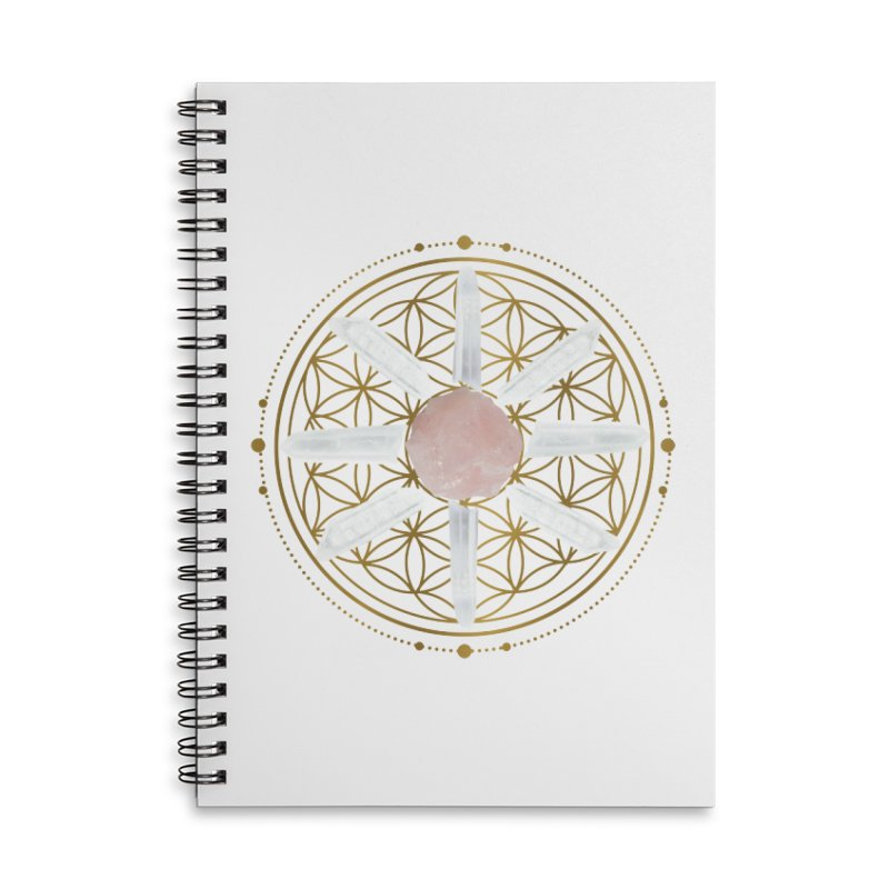 Flower of Life Love Crystal Grid Accessories Lined Spiral Notebook by Crystalline Light