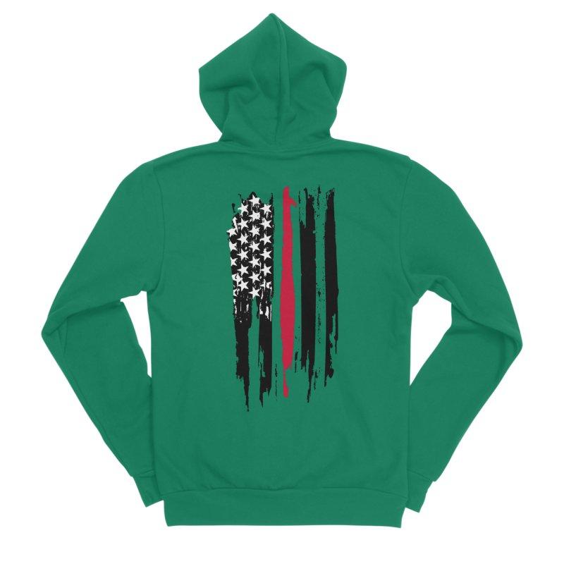 Fire Fighter USA Flag Women's Sponge Fleece Zip-Up Hoody by Cryste's Artist Shop