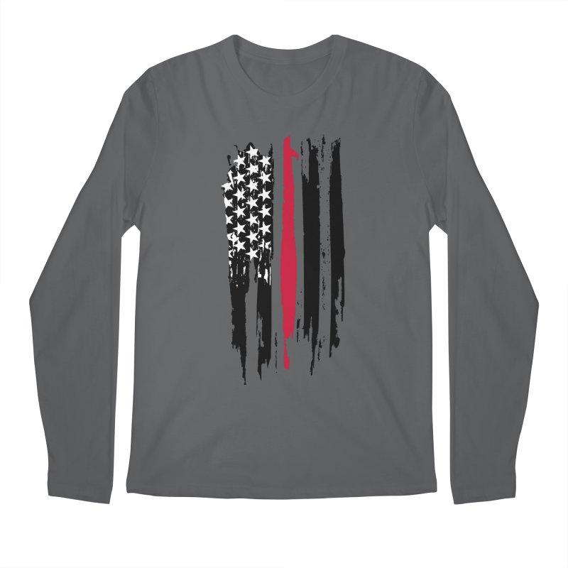 Fire Fighter USA Flag Men's Regular Longsleeve T-Shirt by Cryste's Artist Shop