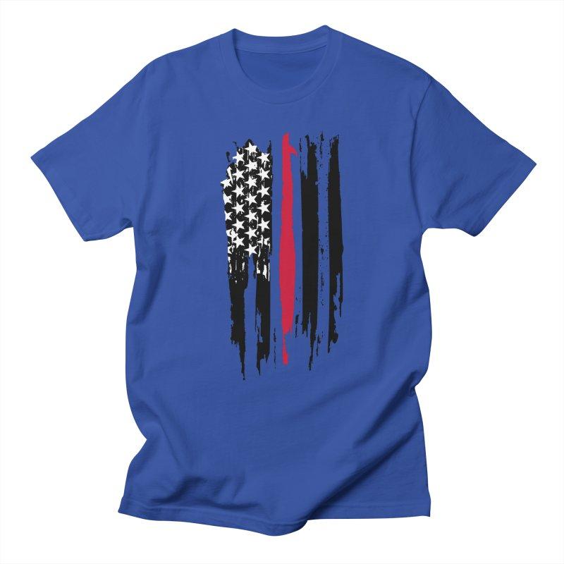 Fire Fighter USA Flag Men's Regular T-Shirt by Cryste's Artist Shop
