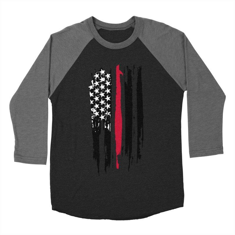 Fire Fighter USA Flag Men's Baseball Triblend Longsleeve T-Shirt by Cryste's Artist Shop