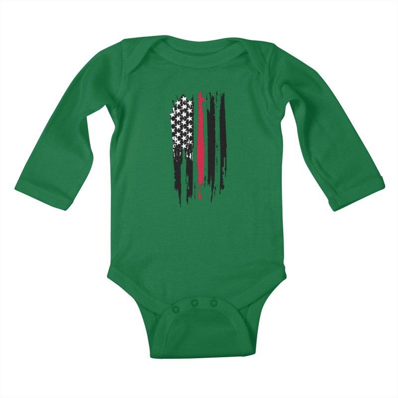 Fire Fighter USA Flag Kids Baby Longsleeve Bodysuit by Cryste's Artist Shop
