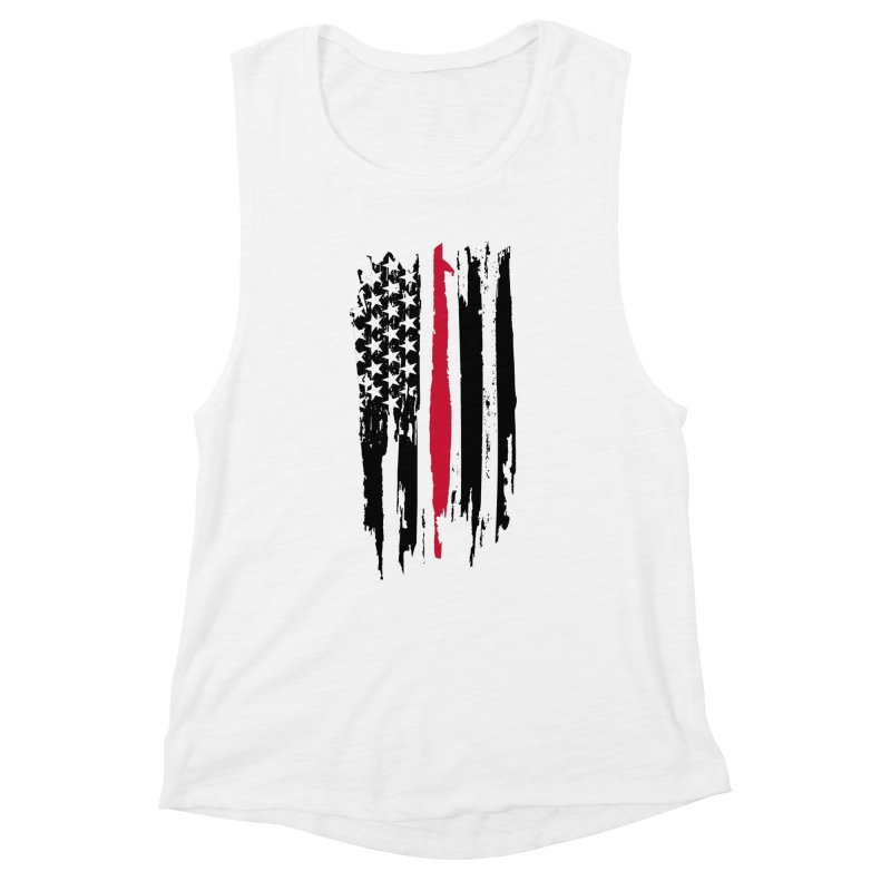 Fire Fighter USA Flag Women's Muscle Tank by Cryste's Artist Shop