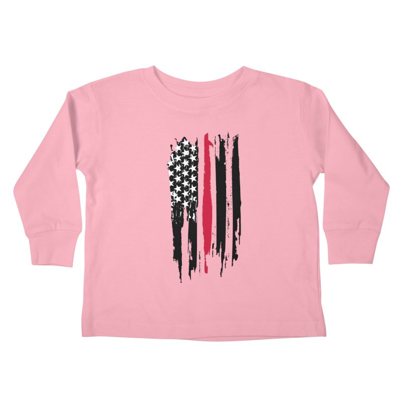 Fire Fighter USA Flag Kids Toddler Longsleeve T-Shirt by Cryste's Artist Shop