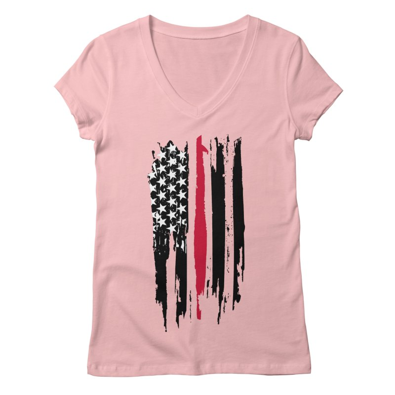 Fire Fighter USA Flag Women's Regular V-Neck by Cryste's Artist Shop