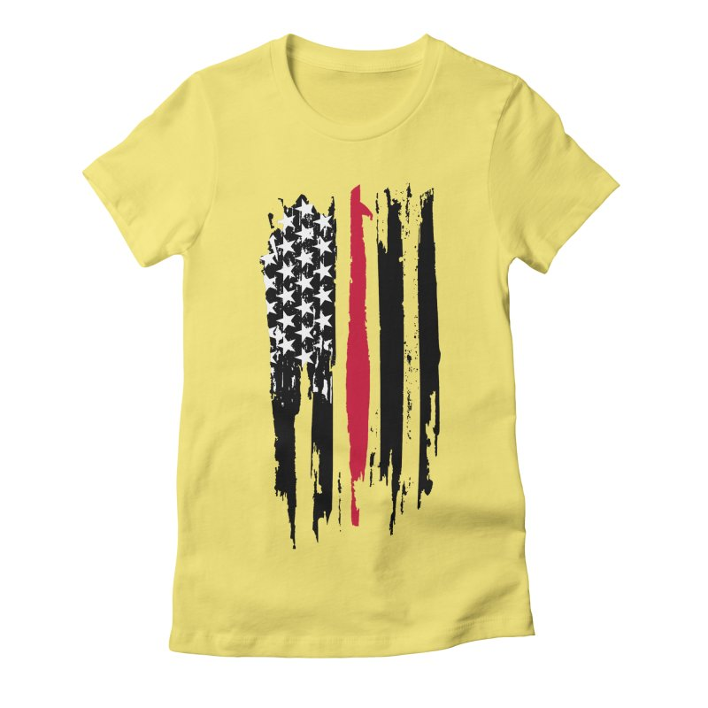 Fire Fighter USA Flag Women's Fitted T-Shirt by Cryste's Artist Shop