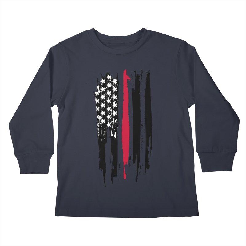 Fire Fighter USA Flag Kids Longsleeve T-Shirt by Cryste's Artist Shop