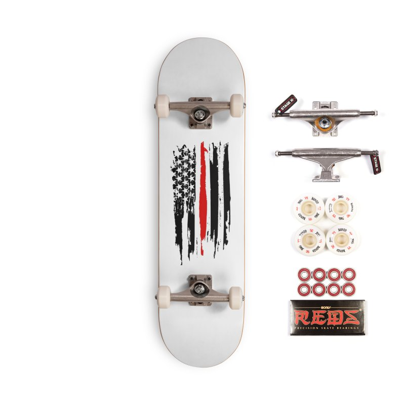Fire Fighter USA Flag Accessories Complete - Pro Skateboard by Cryste's Artist Shop