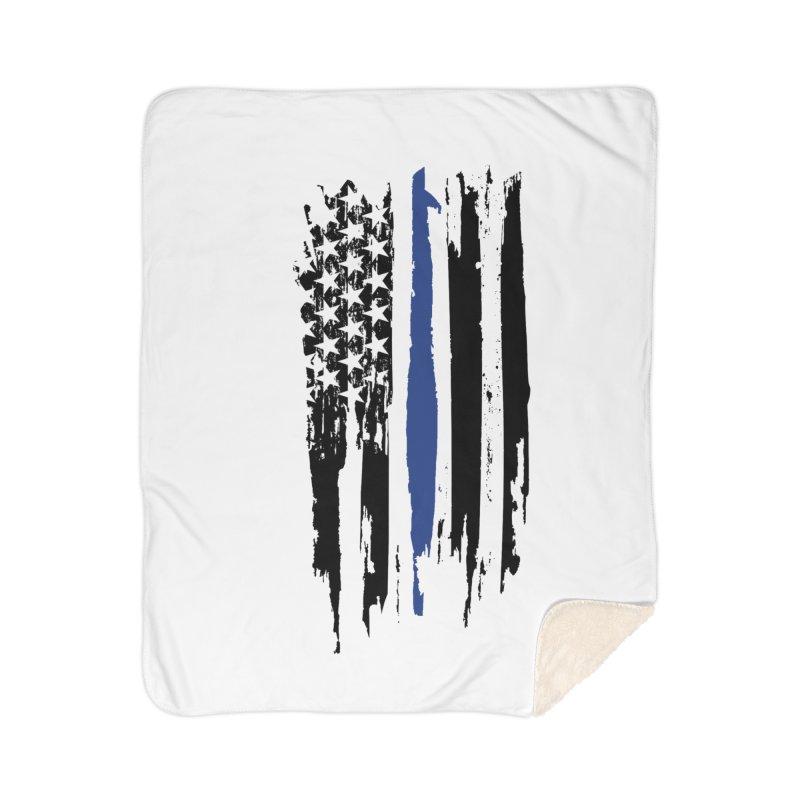 Police Flag Home Sherpa Blanket Blanket by Cryste's Artist Shop