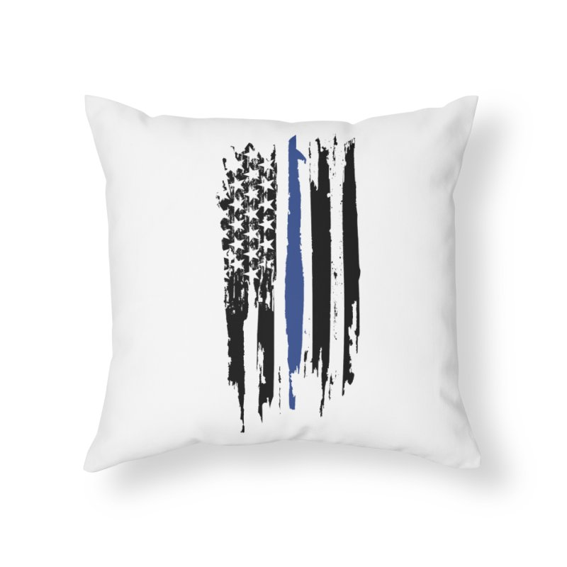 Police Flag Home Throw Pillow by Cryste's Artist Shop