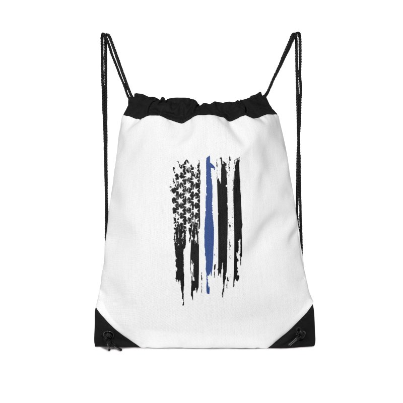 Police Flag Accessories Drawstring Bag Bag by Cryste's Artist Shop