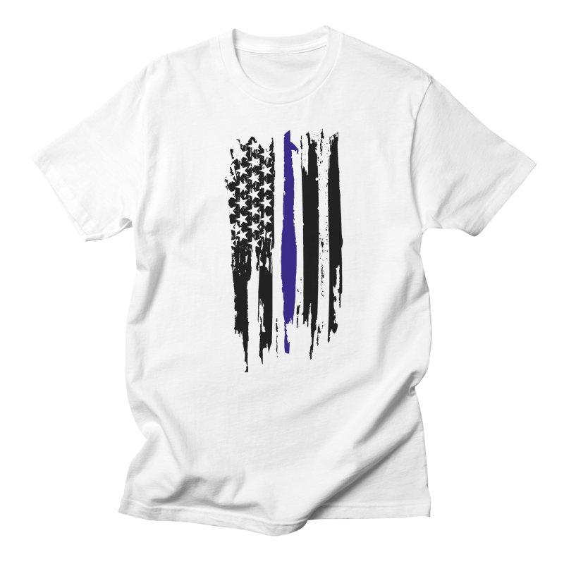 Police Flag Men's Regular T-Shirt by Cryste's Artist Shop