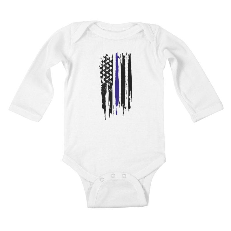 Police Flag Kids Baby Longsleeve Bodysuit by Cryste's Artist Shop