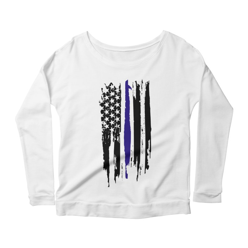 Police Flag Women's Scoop Neck Longsleeve T-Shirt by Cryste's Artist Shop
