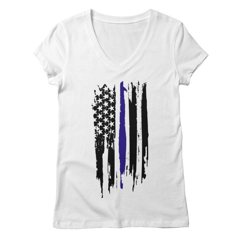 Police Flag Women's Regular V-Neck by Cryste's Artist Shop