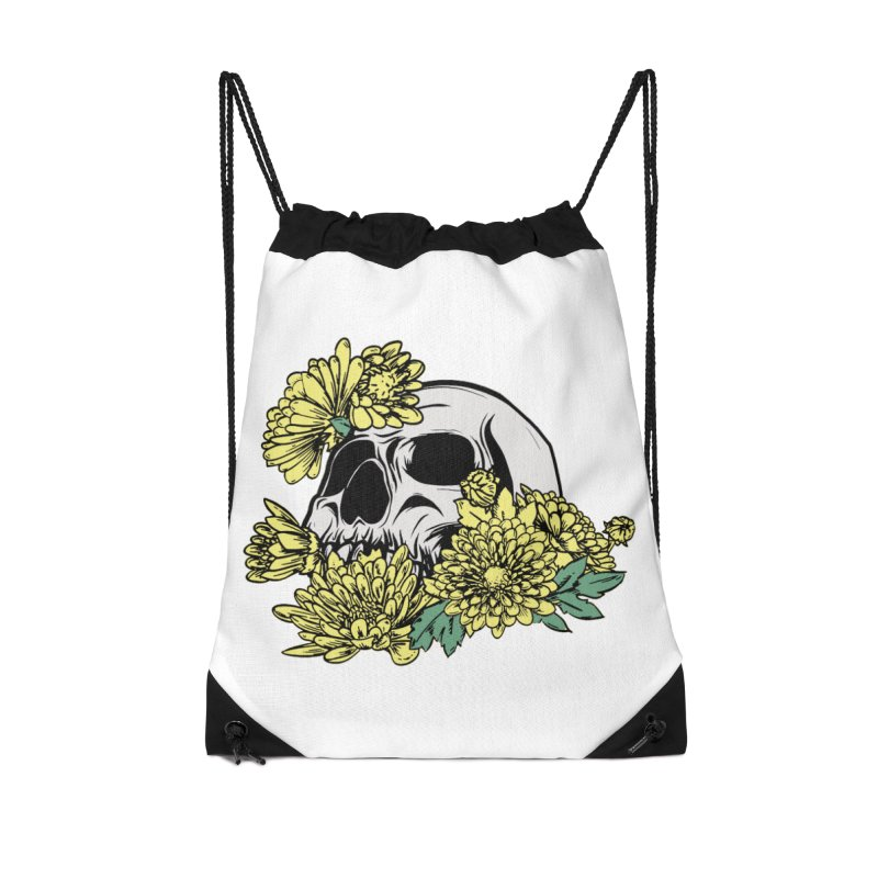 Beautiful Death Yellow Accessories Drawstring Bag Bag by Cryste's Artist Shop