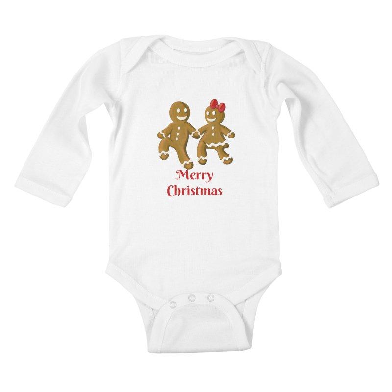 Gingerbread Christmas wish Kids Baby Longsleeve Bodysuit by Cryste's Artist Shop