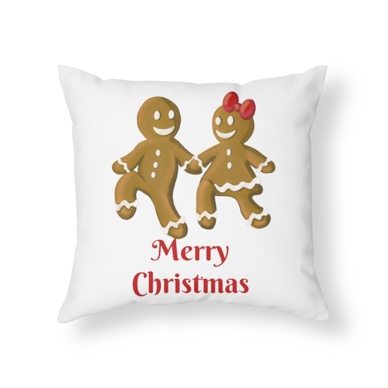 Gingerbread Christmas wish Home Throw Pillow by Cryste's Artist Shop
