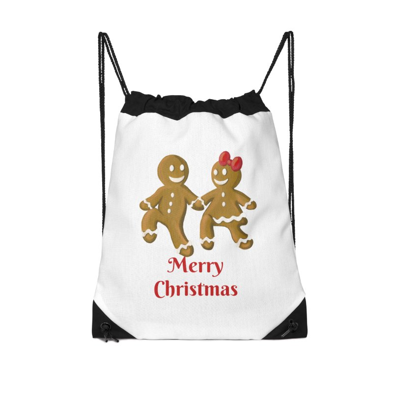 Gingerbread Christmas wish Accessories Drawstring Bag Bag by Cryste's Artist Shop
