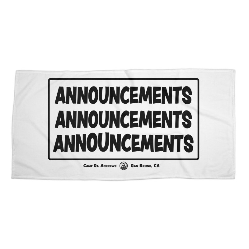 Announcements (black) Accessories Beach Towel by Camp St. Andrews